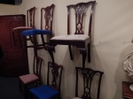 a wall of chairs