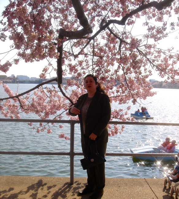 Diana Belchase under a Cherry Tree in Washington's Tidal Basin (c).