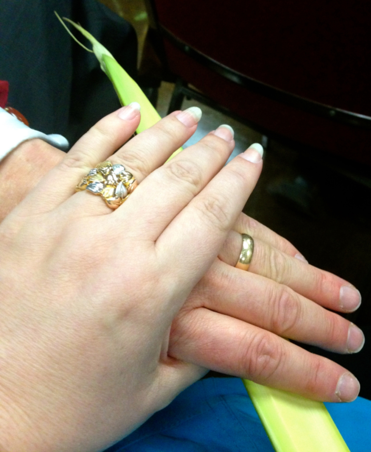 Wedding rings and Palm Fronds